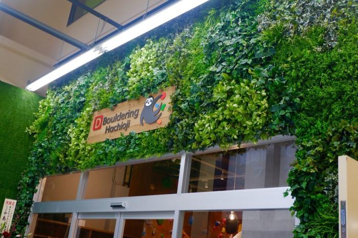 壁面緑化 フェイクグリーンと木製看板