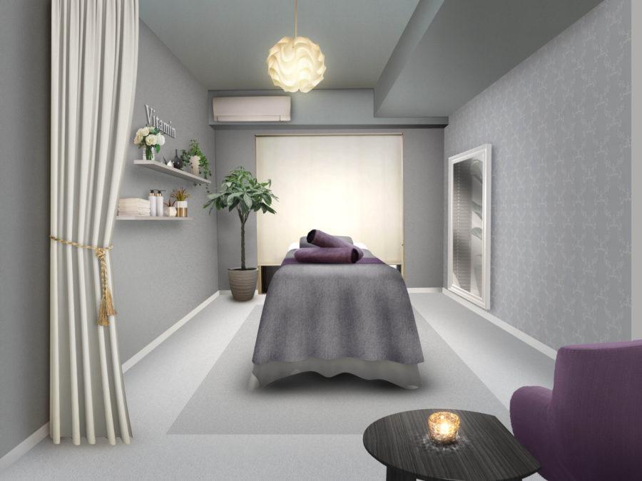 リラクゼーションサロン 内装デザイン パース (2)